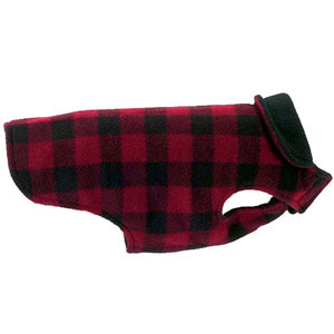 Buffalo Plaid Fleece Dog Coat: 8 - 24 inch