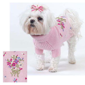 Dog Sweater Knitting Pattern For Maltese : Ribbon Bouquet Dog Sweater
