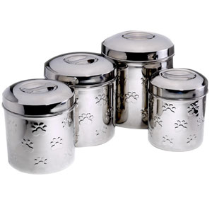 stainless steel dog treat jar set