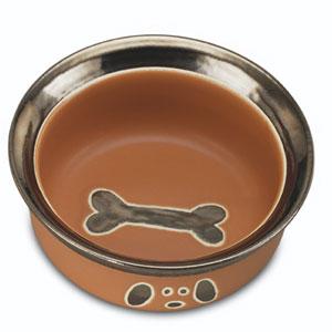 ceramic dog bowl - Metallic Mutts Caramel
