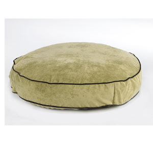 Bowsers round dog beds - celery green microvelvet dog bed