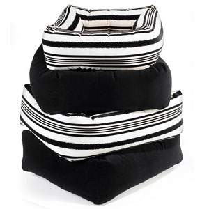 Dutchie square dog bed - Tuxedo Stripe + Ebony