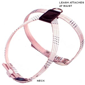 pink plaid dog harness and leash
