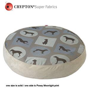 William Wegman round dog bed covered in signature print Crypton fabric