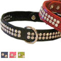 leather dog collars with hand set rhinestone crystals