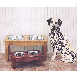 elevated wood dog feeder