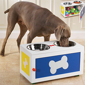 raised dog diner with storage