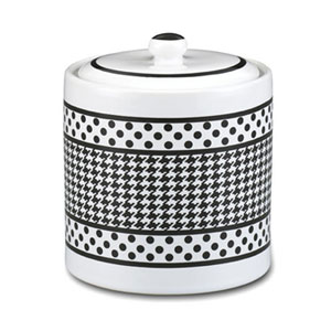ceramic treat jar - small Houndstooth cookie jar
