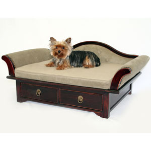 wood dog bed with microsuede upholstery