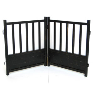 iron dog gate in antique black finish