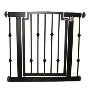 iron hallway gate with decorative spindle in black finish