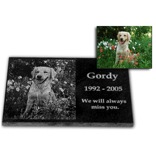 personalized photo etched pet memorial stone