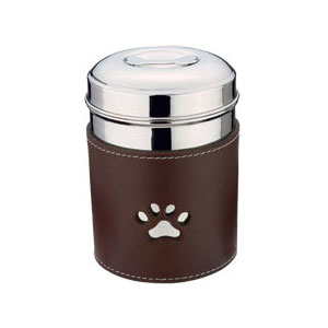stainless steel  with leather dog treat jar