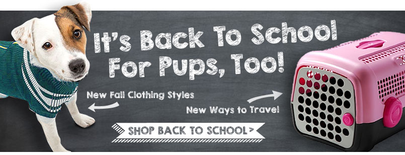 It's back to school for pups, too! New fall clothing styles! New ways to travel! Shop back to school!