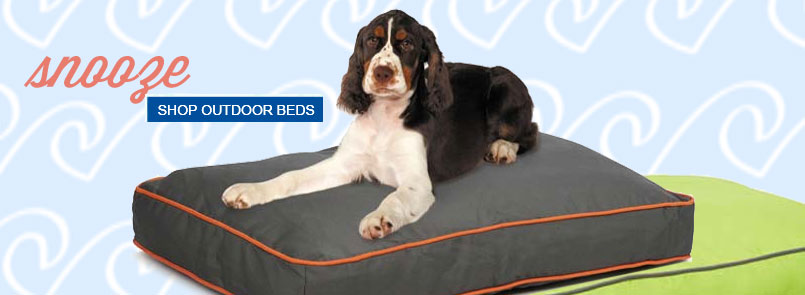 Ourdoor dog beds for summer snoozing! Check out our dog beds made with outdoor fabrics! Shop Summer Dog Beds and Click Here