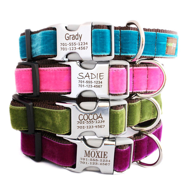 personalized dog collars velvet with metal buckle
