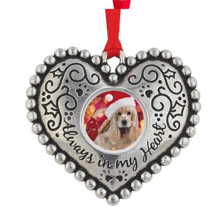 Pewter Heart Picture Frame Christmas Ornament