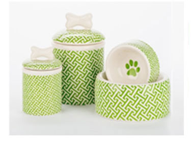 shop for dog bowls, treat jars and raised feeders
